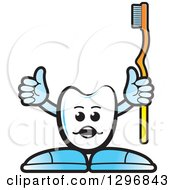 Clipart Of A Cartoon Tooth Character Holding Up A Thumb And Yellow Toothbrush Royalty Free Vector Illustration by Lal Perera