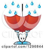 Clipart Of A Cartoon Tooth Character Using An Umbrella To Catch Rain Royalty Free Vector Illustration
