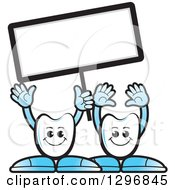Clipart Of Cartoon Tooth Characters Waving And Holding Up A Blank Sign Royalty Free Vector Illustration