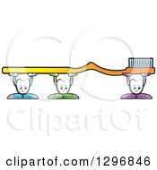 Clipart Of Cartoon Tooth Characters Holding Up A Giant Yellow Toothbrush Royalty Free Vector Illustration
