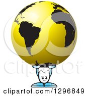 Clipart Of A Cartoon Tooth Character Holding Up A Black And Gold Globe Royalty Free Vector Illustration