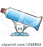 Clipart Of A Cartoon Tooth Character Holding Up A Tube Of Toothpaste Royalty Free Vector Illustration