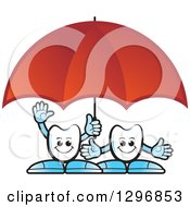 Clipart Of Cartoon Tooth Characters Under A Red Umbrella Royalty Free Vector Illustration