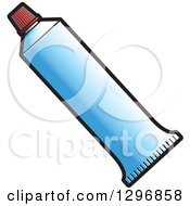 Clipart Of A Blue Tube Of Toothpaste Royalty Free Vector Illustration