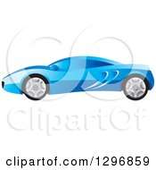 Clipart Of A Profiled Blue Sports Car Royalty Free Vector Illustration