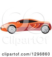 Clipart Of A Profiled Red Sports Car Royalty Free Vector Illustration