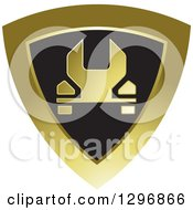 Clipart Of A Wrench In A Shiny Gold And Black Shield Royalty Free Vector Illustration by Lal Perera