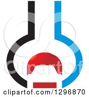 Clipart Of A Red Black And Red Car In An Abstract Wrench Royalty Free Vector Illustration
