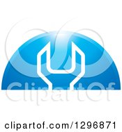 Clipart Of A White Wrench In A Shiny Blue Arch Royalty Free Vector Illustration by Lal Perera