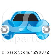 Clipart Of A Blue Wrench And Car Logo Royalty Free Vector Illustration by Lal Perera