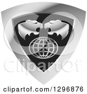 Clipart Of Roaring Tiger Heads Over A Grid Globe In A Silver And Black Shield Royalty Free Vector Illustration by Lal Perera