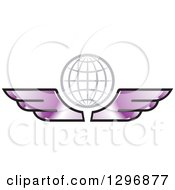 Clipart Of A Gray Grid Globe With Purple Wings Royalty Free Vector Illustration