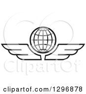 Clipart Of A Black And White Grid Globe With Wings Royalty Free Vector Illustration by Lal Perera