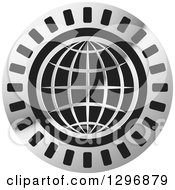 Clipart Of A Silver Grid Globe In A Black And Gray Circle Royalty Free Vector Illustration