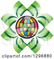 Clipart Of A Colorful Grid Globe Outlined In White With Green Leaves Royalty Free Vector Illustration
