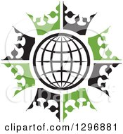Clipart Of A Black And White Grid Globe In A Circle Of Black And Green Crowns Royalty Free Vector Illustration by Lal Perera