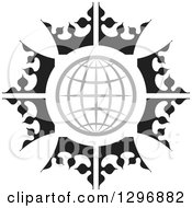 Clipart Of A Gray Grid Globe In A Circle Of Black And White Crowns Royalty Free Vector Illustration by Lal Perera