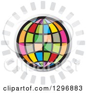 Clipart Of A Colorful Grid Globe In A Silver Circle With Gray Rays Royalty Free Vector Illustration