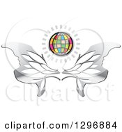 Clipart Of A Shining Colorful Grid Globe Over Silver Wings Royalty Free Vector Illustration