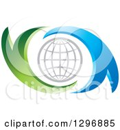 Clipart Of A Gray Grid Globe In Blue And Green Abstract Swooshes Royalty Free Vector Illustration