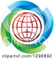 Clipart Of A Red Grid Globe In A Circle Of Green And Blue Royalty Free Vector Illustration