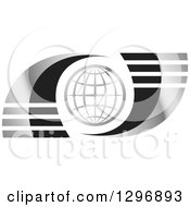 Clipart Of A Silver Grid Globe And Swooshes With Lines Royalty Free Vector Illustration