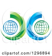 Clipart Of Grid Globes In Green And Blue Swooshes Royalty Free Vector Illustration