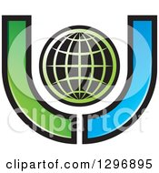 Clipart Of A Grid Globe Inside A Blue And Green Letter U Royalty Free Vector Illustration