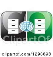 Clipart Of A Blue Grid Globe With Mirrored Black And Green Letter D With Dressers Royalty Free Vector Illustration