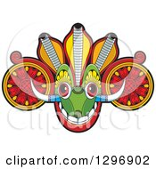 Clipart Of A Tribal Devil Dance Mask With Horns Royalty Free Vector Illustration by Lal Perera