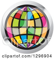 Clipart Of A Colorful Grid Globe In A Silver Circle Royalty Free Vector Illustration