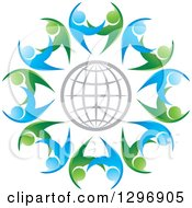 Clipart Of A Gray Grid Globe Circled With Blue And Green Dancing Or Protective People Royalty Free Vector Illustration