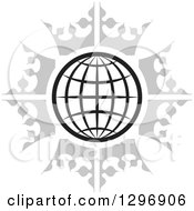 Clipart Of A Black And White Grid Globe In A Circle Of Gray Crowns Royalty Free Vector Illustration