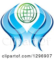 Clipart Of A Gradient Green Grid Globe With Blue Waves Water Or Hands Royalty Free Vector Illustration