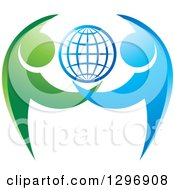Clipart Of A Grid Globe With Blue And Green Dancing Or Protective People Royalty Free Vector Illustration