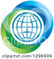 Clipart Of A Grid Globe Inside Blue And Green Royalty Free Vector Illustration