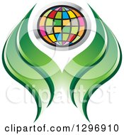 Clipart Of A Colorful Grid Globe And Green Abstract Leaves Or Hands Royalty Free Vector Illustration by Lal Perera