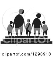 Clipart Of A Black Silhouetted Family Of Five Holding Hands On Steps Royalty Free Vector Illustration
