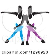 Clipart Of A Black Silhouetted Female Dancers In Blue And Purple Apparel Touching Shoulders And Mirroring Each Other Royalty Free Vector Illustration by Lal Perera