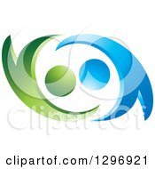 Clipart Of A Green And Blue Abstract Couple Dancing Or Embracing Royalty Free Vector Illustration
