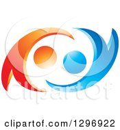 Clipart Of A Blue And Orange Abstract Couple Dancing Or Embracing Royalty Free Vector Illustration