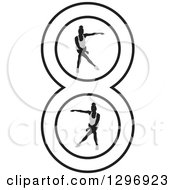 Clipart Of Grayscale Women Dancing In Number 8 Royalty Free Vector Illustration by Lal Perera