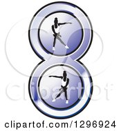 Clipart Of Women Dancing In A Purple Number 8 Royalty Free Vector Illustration