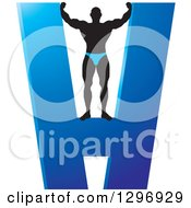 Clipart Of A Silhouetted Male Bodybuilder On A Blue Giant Letter H Royalty Free Vector Illustration