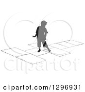 Clipart Of A Black Silhouetted Boy Playing Hopscotch 2 Royalty Free Vector Illustration by Lal Perera