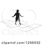 Clipart Of A Black Silhouetted Boy Playing Hopscotch 3 Royalty Free Vector Illustration by Lal Perera