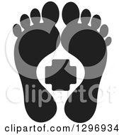 Clipart Of A Black Silhouetted Feet And A First Aid Medical Cross Royalty Free Vector Illustration