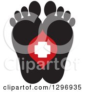 Clipart Of A Black Silhouetted Feet And A Red And White First Aid Medical Cross Royalty Free Vector Illustration