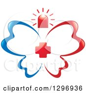 Blue And Red First Aid Medical Butterfly With A Cross And Siren