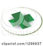 Clipart Of A 3d Green Cross Hole In A Circle Royalty Free Vector Illustration